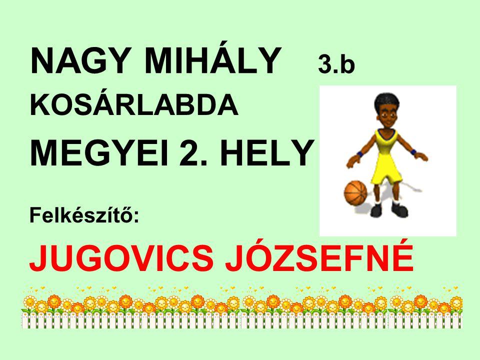NAGY MIHÁLY 3.b KOSÁRLABDA MEGYEI 2. HELY Felkészítő: JUGOVICS JÓZSEFNÉ