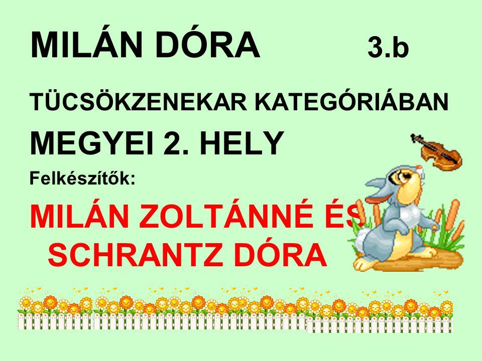 MILÁN DÓRA 3.b TÜCSÖKZENEKAR KATEGÓRIÁBAN MEGYEI 2.