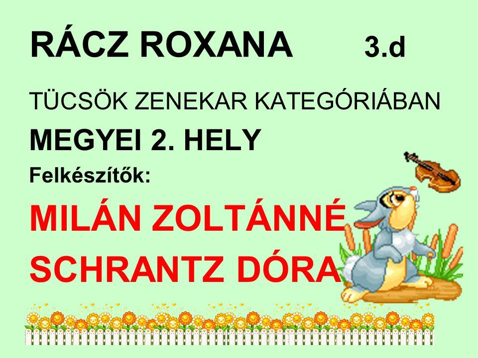 RÁCZ ROXANA 3.d TÜCSÖK ZENEKAR KATEGÓRIÁBAN MEGYEI 2.
