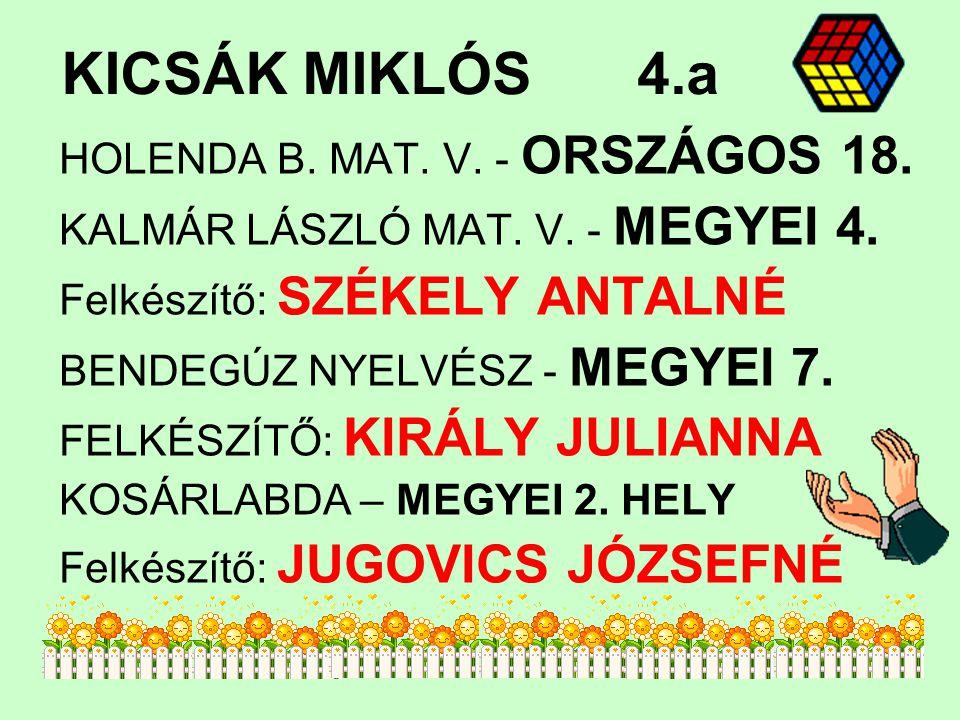 KICSÁK MIKLÓS4.a HOLENDA B.MAT. V. - ORSZÁGOS 18.