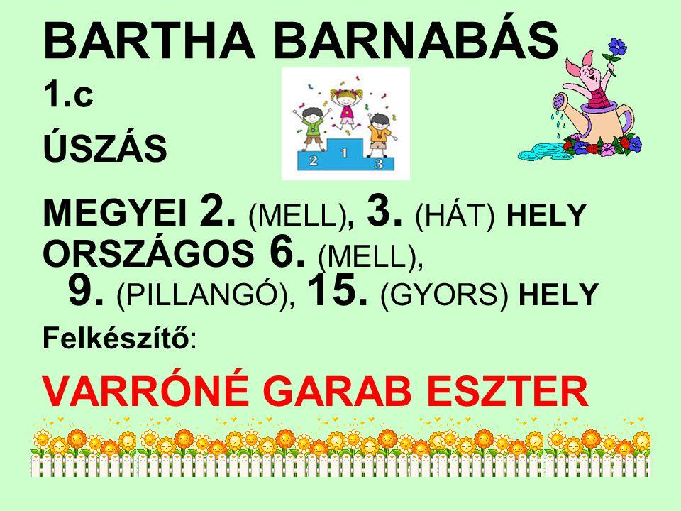 BARTHA BARNABÁS 1.c ÚSZÁS MEGYEI 2. (MELL), 3. (HÁT) HELY ORSZÁGOS 6. (MELL), 9. (PILLANGÓ), 15. (GYORS) HELY Felkészítő: VARRÓNÉ GARAB ESZTER