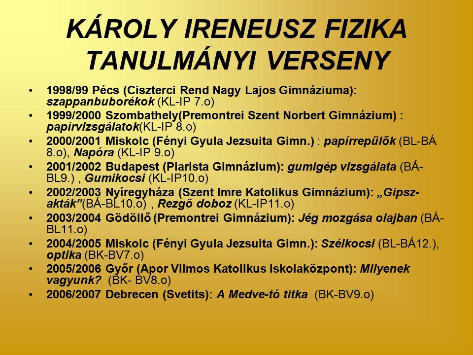 """KÁROLY IRENEUSZ FIZIKA TANULMÁNYI VERSENY 1998/99 Pécs (Ciszterci Rend Nagy Lajos Gimnáziuma): szappanbuborékok (KL-IP 7.o) 1999/2000 Szombathely(Premontrei Szent Norbert Gimnázium) : papírvizsgálatok(KL-IP 8.o) 2000/2001 Miskolc (Fényi Gyula Jezsuita Gimn.) : papírrepülők (BL-BÁ 8.o), Napóra (KL-IP 9.o) 2001/2002 Budapest (Piarista Gimnázium): gumigép vizsgálata (BÁ- BL9.), Gumikocsi (KL-IP10.o) 2002/2003 Nyíregyháza (Szent Imre Katolikus Gimnázium): """"Gipsz- akták (BÁ-BL10.o), Rezgő doboz (KL-IP11.o) 2003/2004 Gödöllő (Premontrei Gimnázium): Jég mozgása olajban (BÁ- BL11.o) 2004/2005 Miskolc (Fényi Gyula Jezsuita Gimn.): Szélkocsi (BL-BÁ12.), optika (BK-BV7.o) 2005/2006 Győr (Apor Vilmos Katolikus Iskolaközpont): Milyenek vagyunk."""