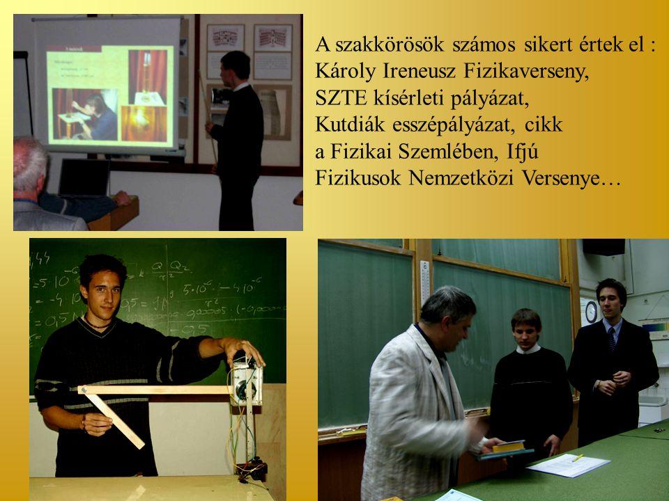 A szakkörösök számos sikert értek el : Károly Ireneusz Fizikaverseny, SZTE kísérleti pályázat, Kutdiák esszépályázat, cikk a Fizikai Szemlében, Ifjú Fizikusok Nemzetközi Versenye…
