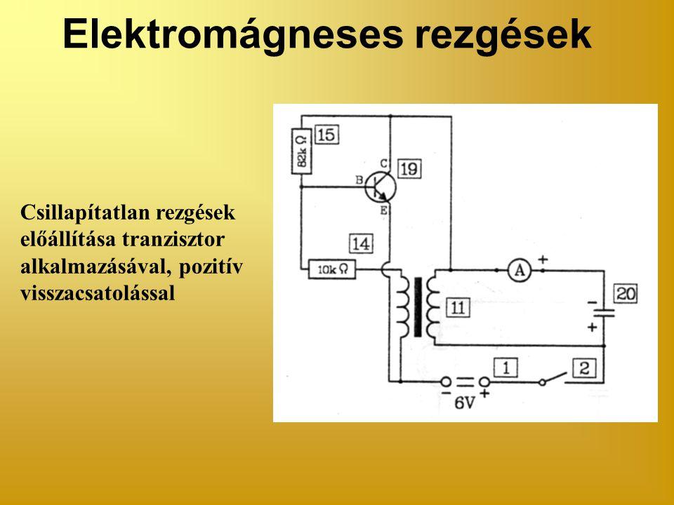 Elektromágneses rezgések Csillapítatlan rezgések előállítása tranzisztor alkalmazásával, pozitív visszacsatolással