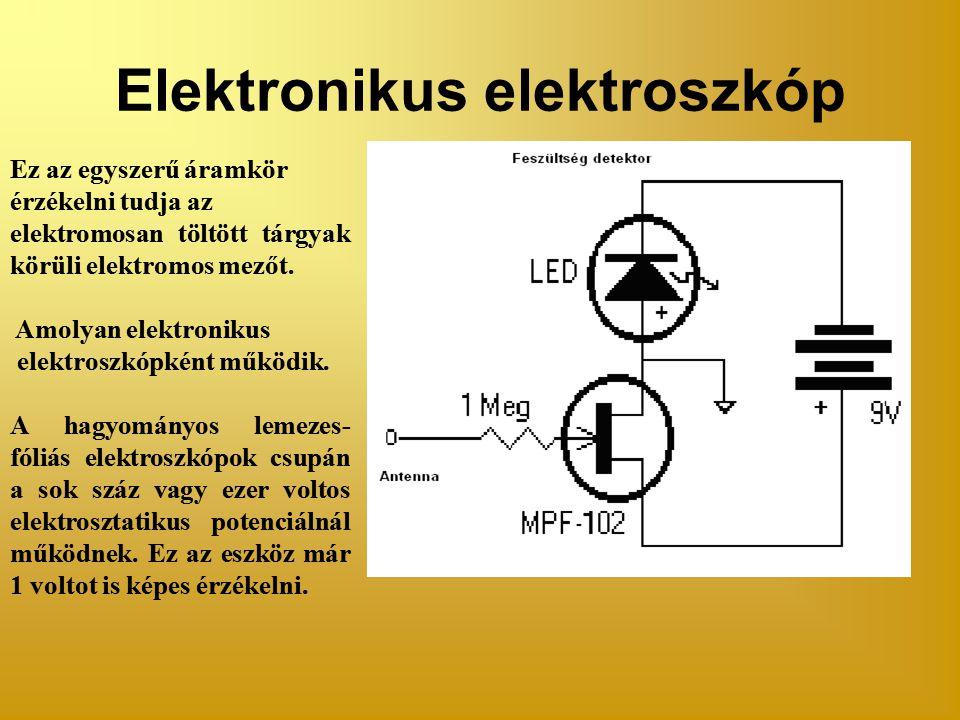 Elektronikus elektroszkóp Ez az egyszerű áramkör érzékelni tudja az elektromosan töltött tárgyak körüli elektromos mezőt.