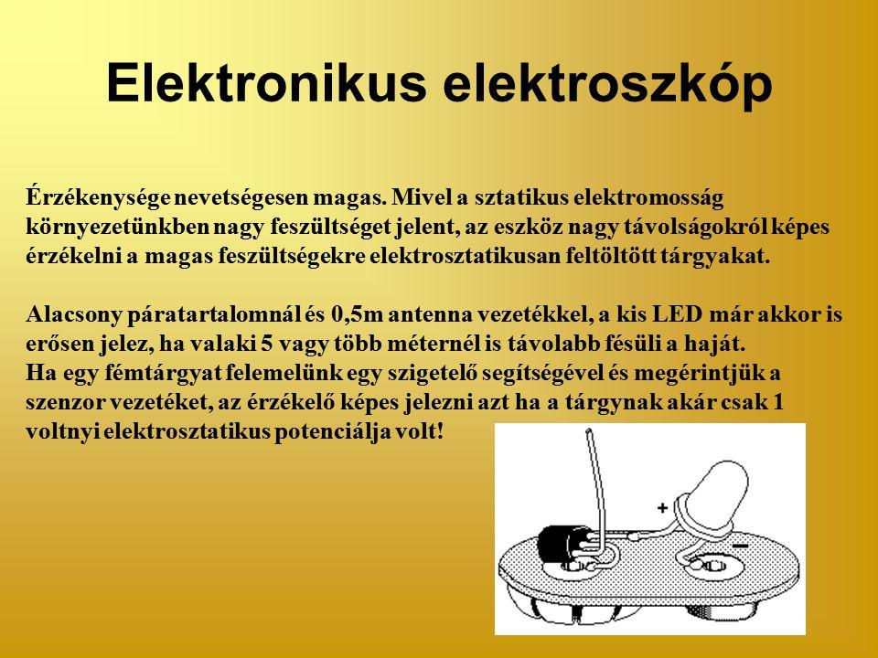 Elektronikus elektroszkóp Érzékenysége nevetségesen magas.