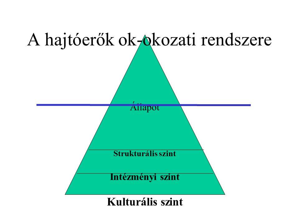 Állapot Strukturális szint Intézményi szint Kulturális szint A hajtóerők ok-okozati rendszere