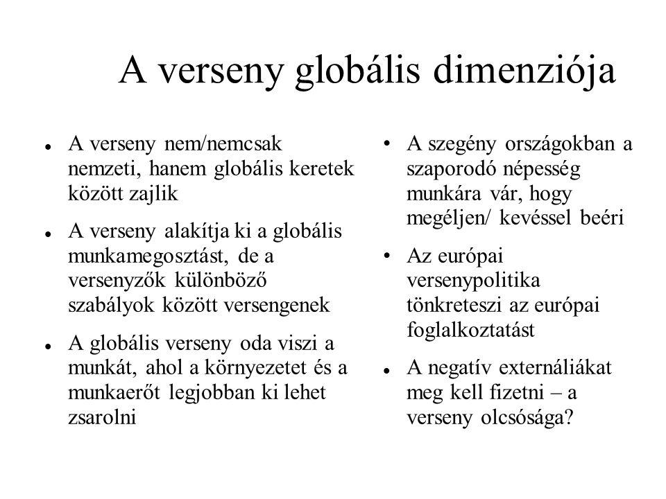 A verseny globális dimenziója A verseny nem/nemcsak nemzeti, hanem globális keretek között zajlik A verseny alakítja ki a globális munkamegosztást, de a versenyzők különböző szabályok között versengenek A globális verseny oda viszi a munkát, ahol a környezetet és a munkaerőt legjobban ki lehet zsarolni A szegény országokban a szaporodó népesség munkára vár, hogy megéljen/ kevéssel beéri Az európai versenypolitika tönkreteszi az európai foglalkoztatást A negatív externáliákat meg kell fizetni – a verseny olcsósága?