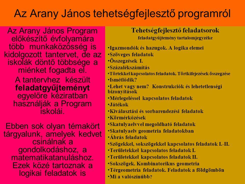 Az Arany János tehetségfejlesztő programról Az Arany János Program előkészítő évfolyamára több munkaközösség is kidolgozott tantervet, de az iskolák döntő többsége a miénket fogadta el.