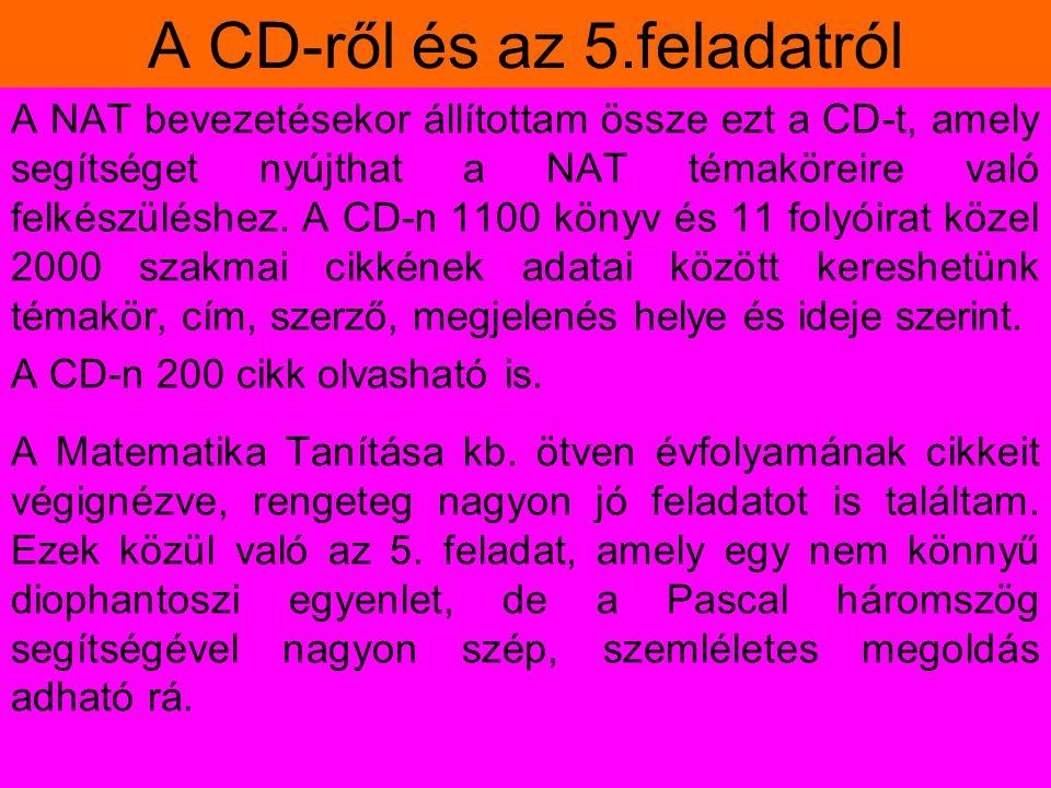 A CD-ről és az 5.feladatról A NAT bevezetésekor állítottam össze ezt a CD-t, amely segítséget nyújthat a NAT témaköreire való felkészüléshez. A CD-n 1