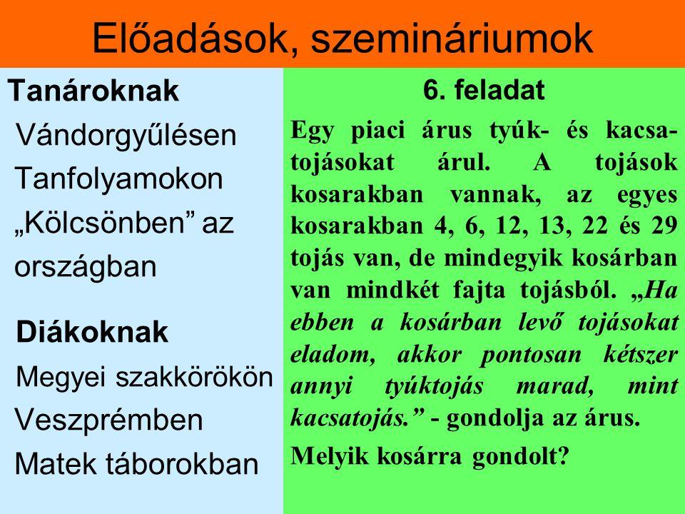 """Előadások, szemináriumok Tanároknak Vándorgyűlésen Tanfolyamokon """"Kölcsönben"""" az országban Diákoknak Megyei szakkörökön Veszprémben Matek táborokban 6"""