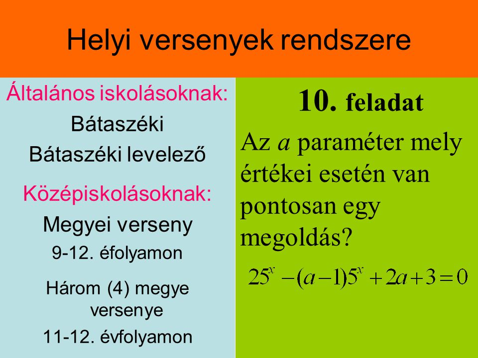 Általános iskolásoknak: Bátaszéki Bátaszéki levelező Középiskolásoknak: Megyei verseny 9-12.