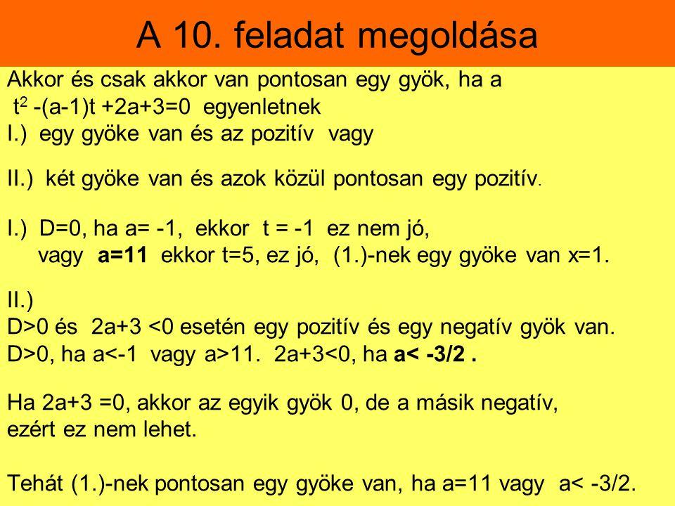 A 10. feladat megoldása Akkor és csak akkor van pontosan egy gyök, ha a t 2 -(a-1)t +2a+3=0 egyenletnek I.) egy gyöke van és az pozitív vagy II.) két