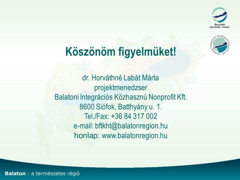 Köszönöm figyelmüket! dr. Horváthné Labát Márta projektmenedzser Balatoni Integrációs Közhasznú Nonprofit Kft. 8600 Siófok, Batthyány u. 1. Tel./Fax: