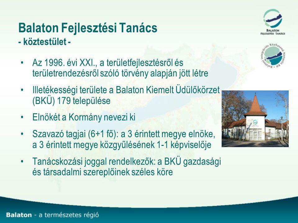 Balaton Fejlesztési Tanács - köztestület - Az 1996. évi XXI., a területfejlesztésről és területrendezésről szóló törvény alapján jött létre Illetékess