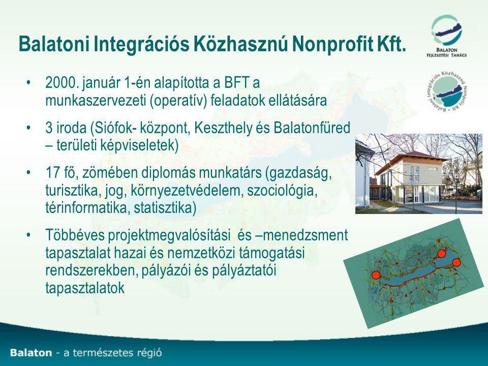 Balatoni Integrációs Közhasznú Nonprofit Kft. 2000. január 1-én alapította a BFT a munkaszervezeti (operatív) feladatok ellátására 3 iroda (Siófok- kö