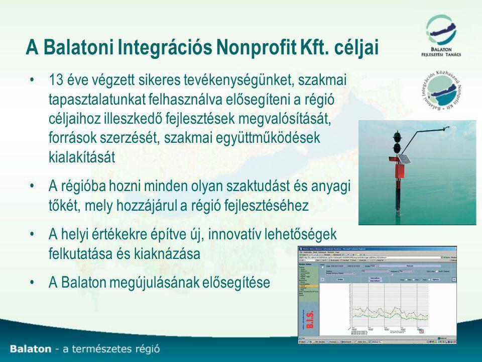 A Balatoni Integrációs Nonprofit Kft. céljai 13 éve végzett sikeres tevékenységünket, szakmai tapasztalatunkat felhasználva elősegíteni a régió céljai