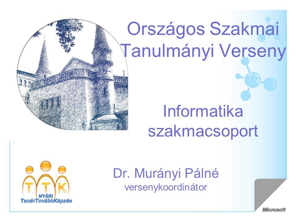 Országos Szakmai Tanulmányi Verseny Informatika szakmacsoport Dr. Murányi Pálné versenykoordinátor