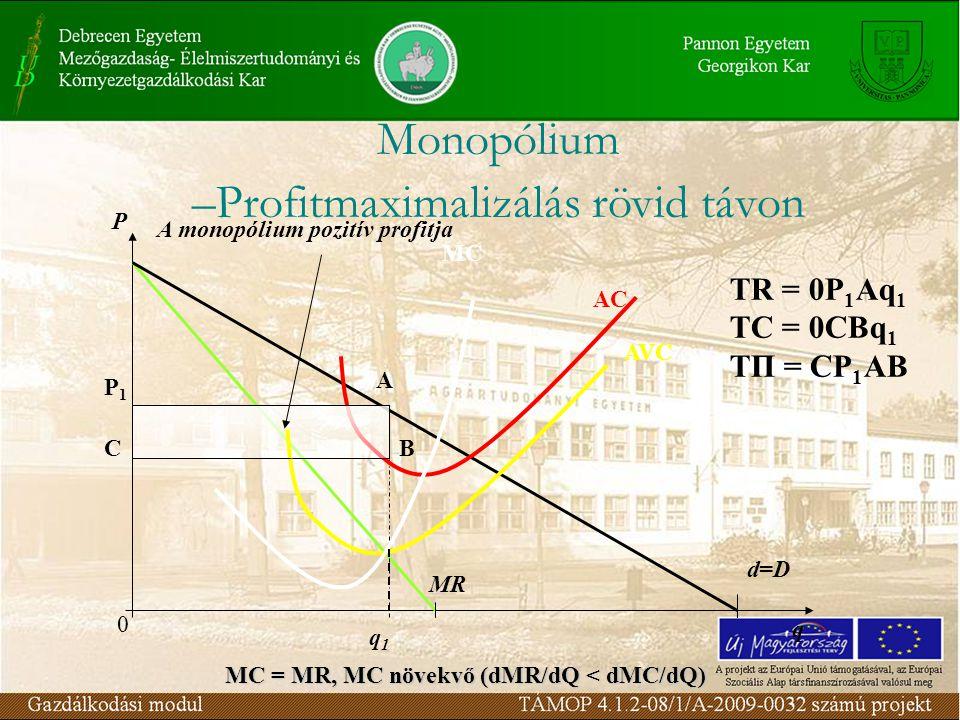P q MR d=D MC AC AVC P1P1 C A B q1q1 0 A monopólium pozitív profitja TR = 0P 1 Aq 1 TC = 0CBq 1 TΠ = CP 1 AB MC = MR, MC növekvő (dMR/dQ < dMC/dQ)