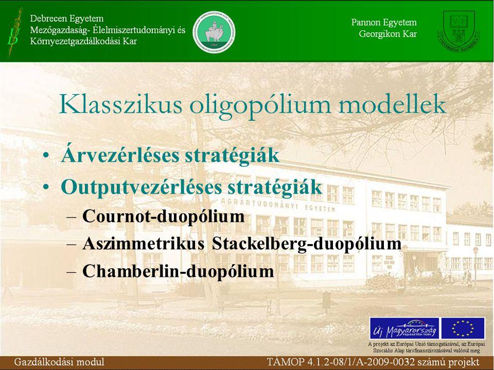 Árvezérléses stratégiák Outputvezérléses stratégiák –Cournot-duopólium –Aszimmetrikus Stackelberg-duopólium –Chamberlin-duopólium Klasszikus oligopóli