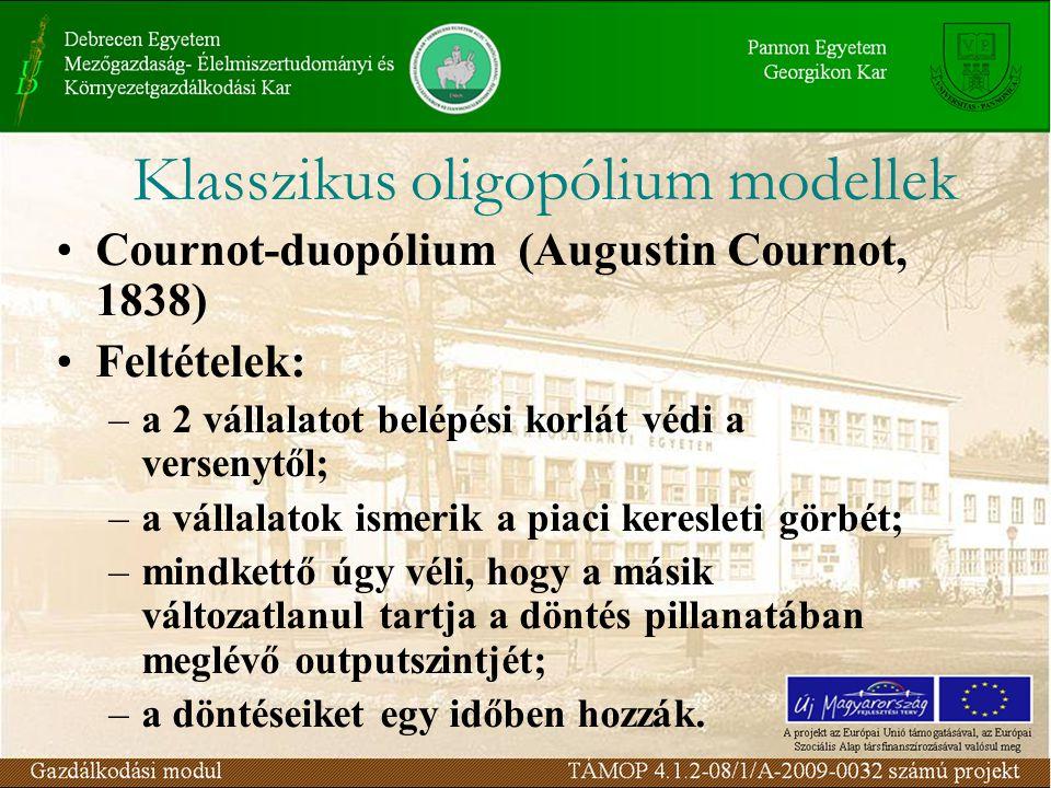 Cournot-duopólium (Augustin Cournot, 1838) Feltételek: –a 2 vállalatot belépési korlát védi a versenytől; –a vállalatok ismerik a piaci keresleti görb