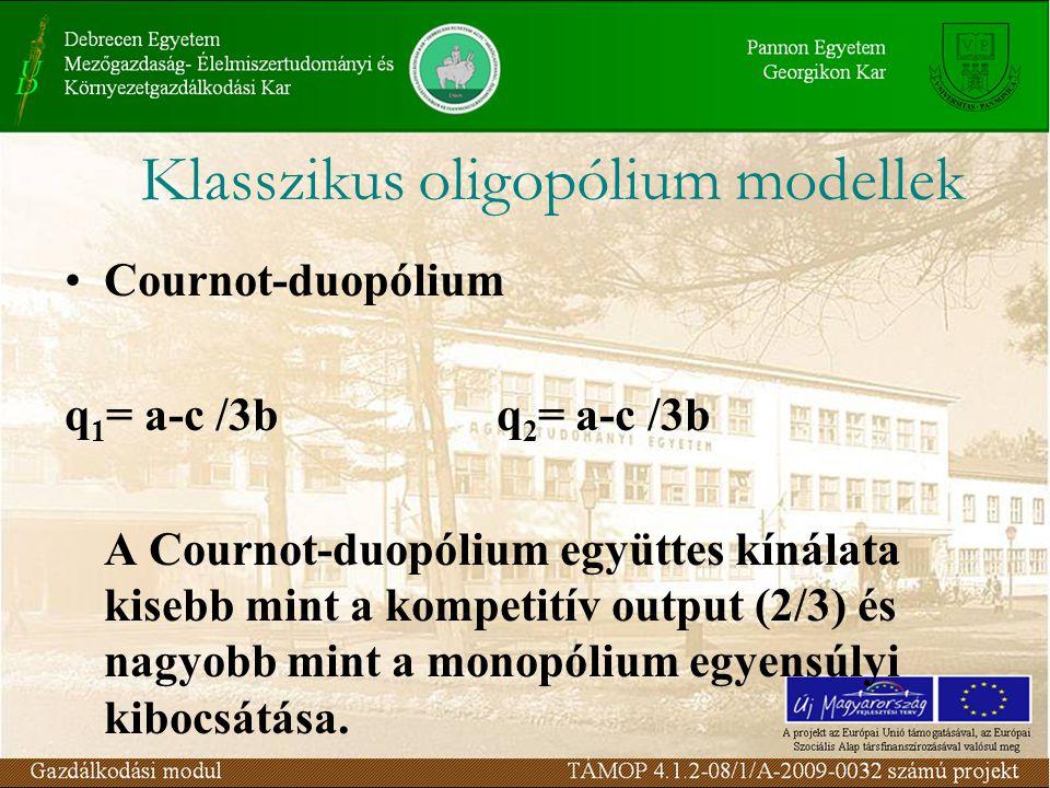 Cournot-duopólium q 1 = a-c /3b q 2 = a-c /3b A Cournot-duopólium együttes kínálata kisebb mint a kompetitív output (2/3) és nagyobb mint a monopólium