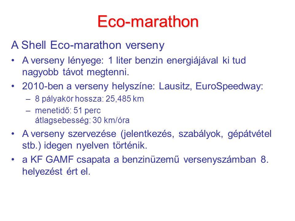 Eco-marathon A Shell Eco-marathon verseny A verseny lényege: 1 liter benzin energiájával ki tud nagyobb távot megtenni.