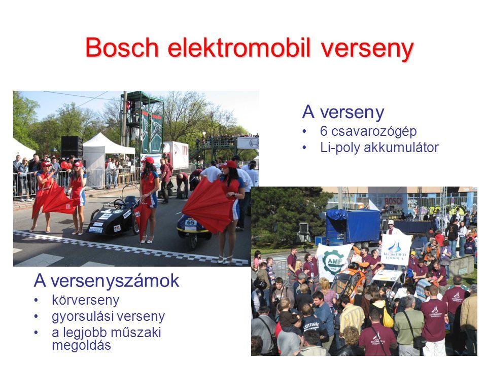 Bosch elektromobil verseny A verseny 6 csavarozógép Li-poly akkumulátor A versenyszámok körverseny gyorsulási verseny a legjobb műszaki megoldás