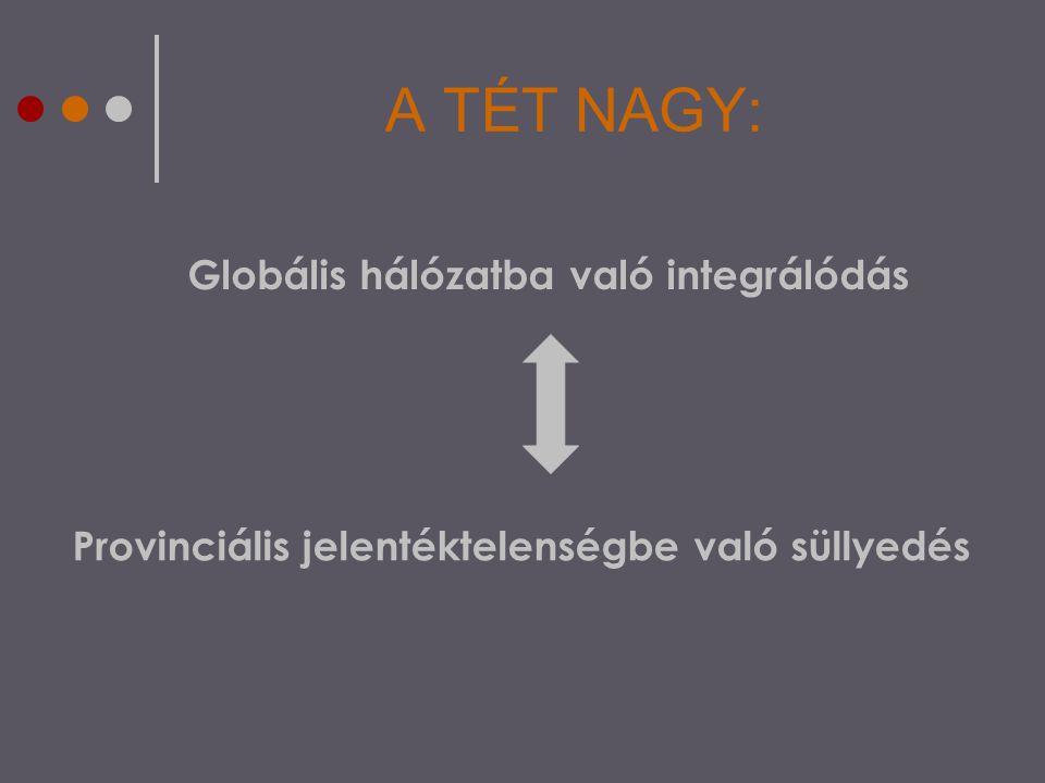 A TÉT NAGY: Globális hálózatba való integrálódás Provinciális jelentéktelenségbe való süllyedés