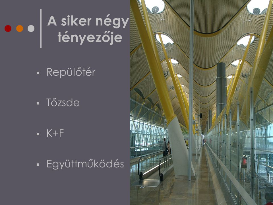 A siker négy tényezője  Repülőtér  Tőzsde  K+F  Együttműködés