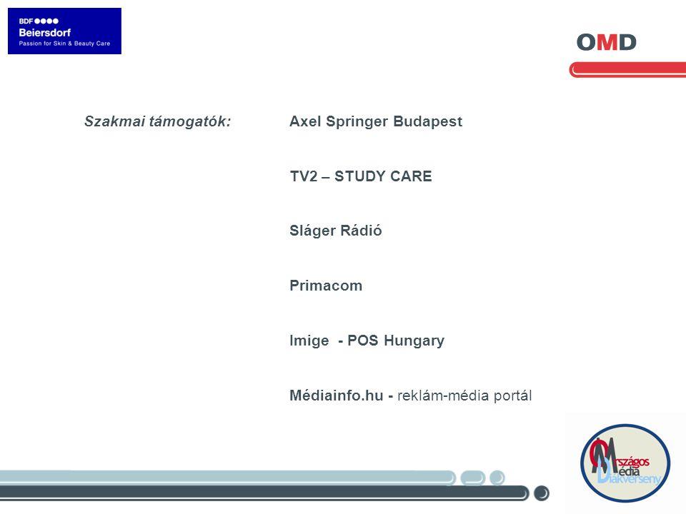Szakmai támogatók: Axel Springer Budapest TV2 – STUDY CARE Sláger Rádió Primacom Imige - POS Hungary Médiainfo.hu - reklám-média portál