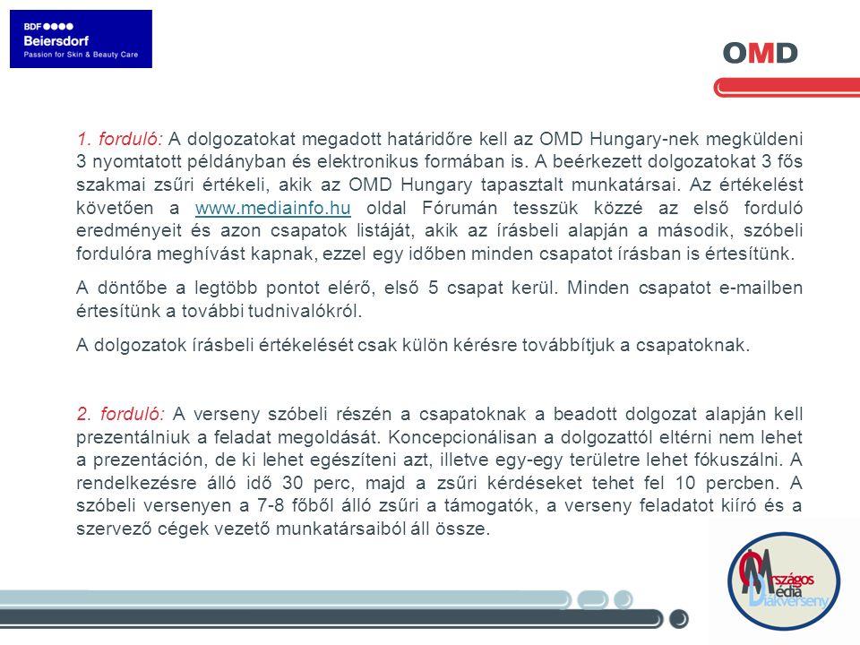 1. forduló: A dolgozatokat megadott határidőre kell az OMD Hungary-nek megküldeni 3 nyomtatott példányban és elektronikus formában is. A beérkezett do