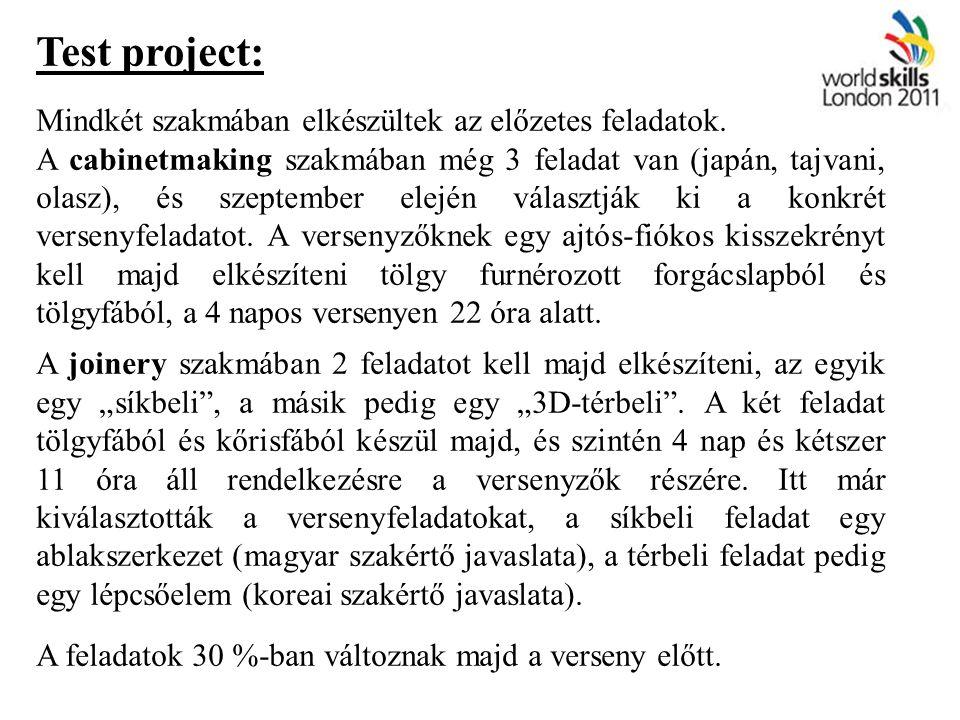 Test project: Mindkét szakmában elkészültek az előzetes feladatok. A cabinetmaking szakmában még 3 feladat van (japán, tajvani, olasz), és szeptember
