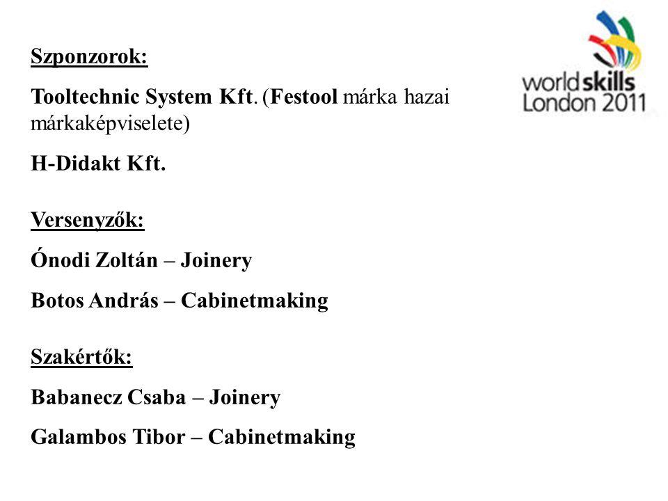 Szponzorok: Tooltechnic System Kft. (Festool márka hazai márkaképviselete) H-Didakt Kft. Versenyzők: Ónodi Zoltán – Joinery Botos András – Cabinetmaki