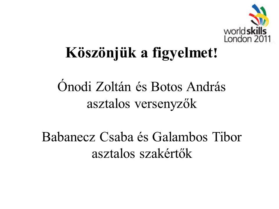Köszönjük a figyelmet! Ónodi Zoltán és Botos András asztalos versenyzők Babanecz Csaba és Galambos Tibor asztalos szakértők