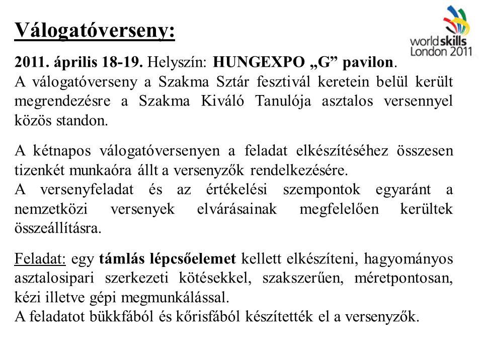 """Válogatóverseny: 2011. április 18-19. Helyszín: HUNGEXPO """"G"""" pavilon. A válogatóverseny a Szakma Sztár fesztivál keretein belül került megrendezésre a"""
