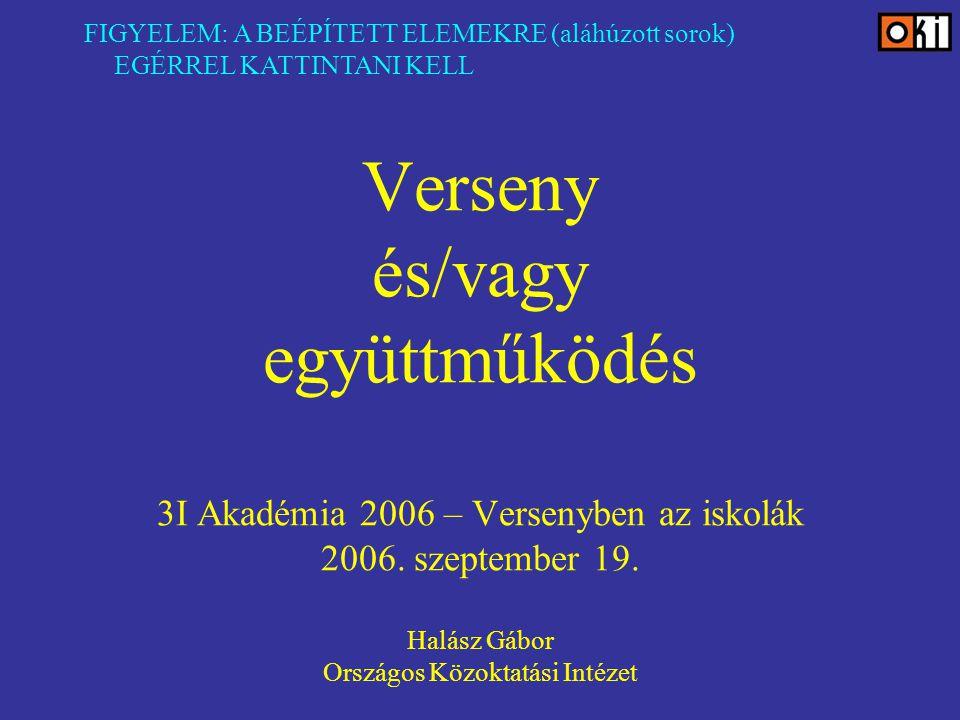 Verseny és/vagy együttműködés 3I Akadémia 2006 – Versenyben az iskolák 2006.