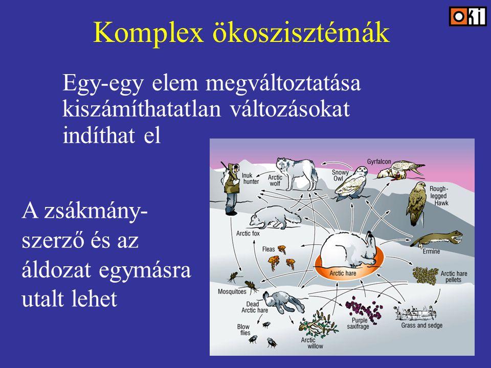 Komplex ökoszisztémák Egy-egy elem megváltoztatása kiszámíthatatlan változásokat indíthat el A zsákmány- szerző és az áldozat egymásra utalt lehet