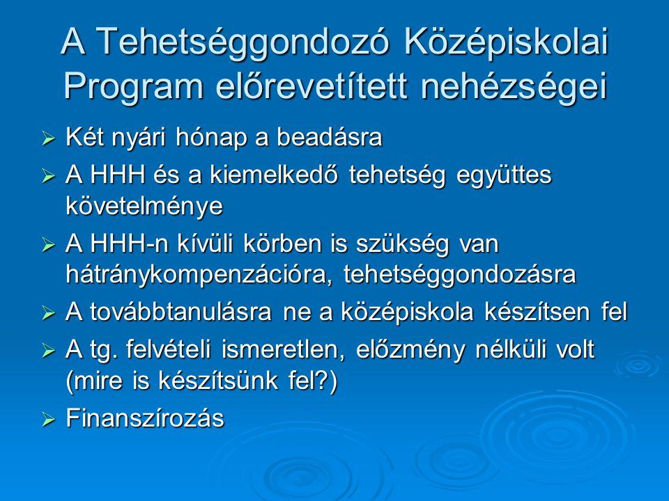 A Tehetséggondozó Középiskolai Program előrevetített nehézségei  Két nyári hónap a beadásra  A HHH és a kiemelkedő tehetség együttes követelménye  A HHH-n kívüli körben is szükség van hátránykompenzációra, tehetséggondozásra  A továbbtanulásra ne a középiskola készítsen fel  A tg.