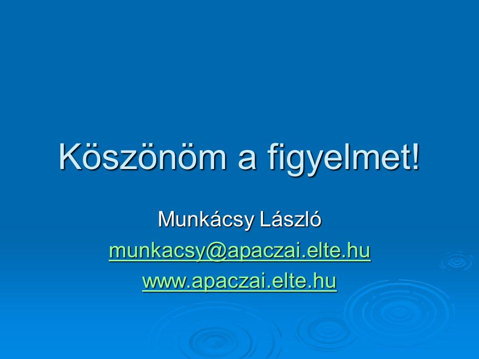 Köszönöm a figyelmet! Munkácsy László munkacsy@apaczai.elte.hu www.apaczai.elte.hu
