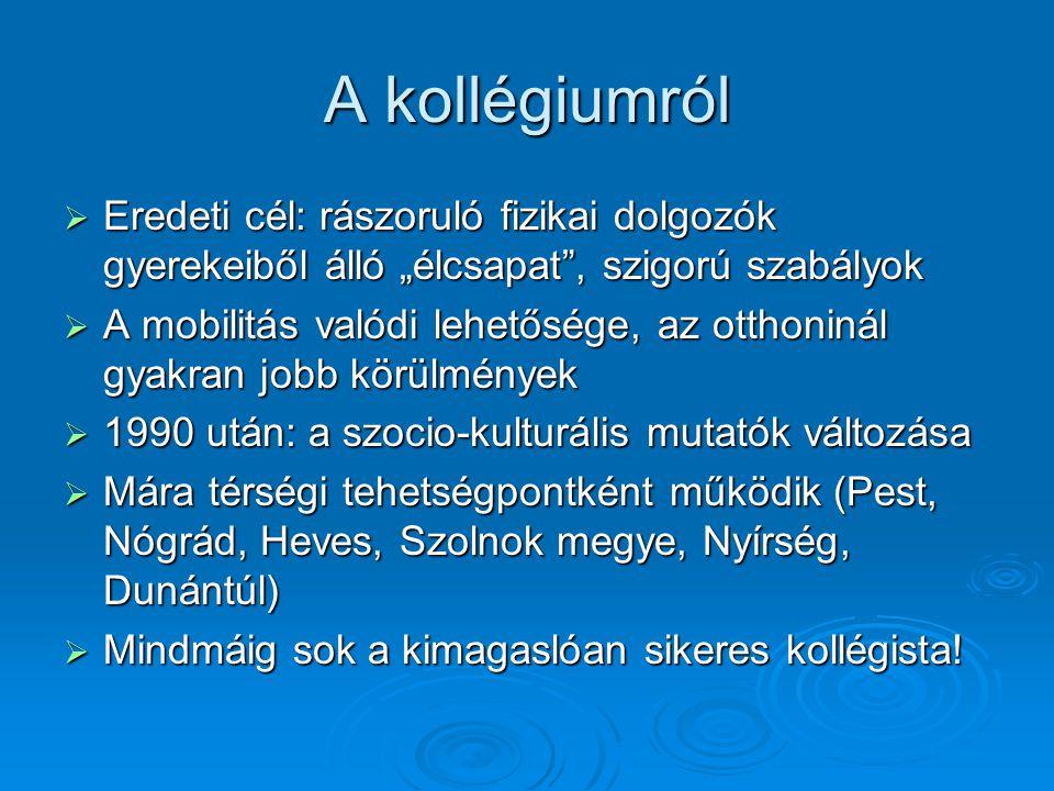 """A kollégiumról  Eredeti cél: rászoruló fizikai dolgozók gyerekeiből álló """"élcsapat , szigorú szabályok  A mobilitás valódi lehetősége, az otthoninál gyakran jobb körülmények  1990 után: a szocio-kulturális mutatók változása  Mára térségi tehetségpontként működik (Pest, Nógrád, Heves, Szolnok megye, Nyírség, Dunántúl)  Mindmáig sok a kimagaslóan sikeres kollégista!"""