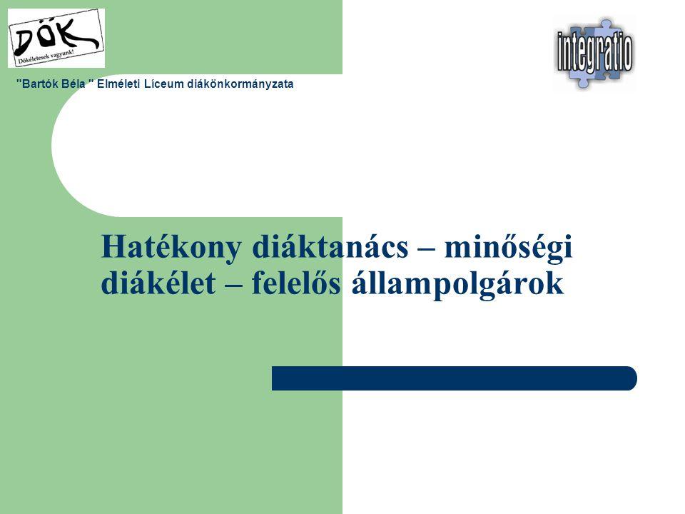 Hatékony diáktanács – minőségi diákélet – felelős állampolgárok Bartók Béla Elméleti Líceum diákönkormányzata