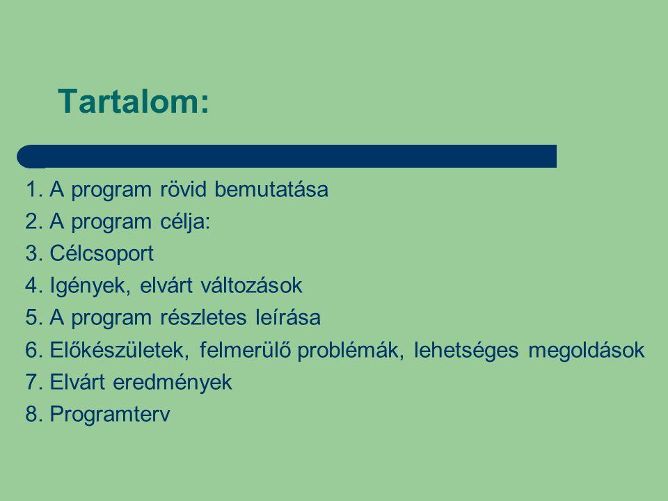 Tartalom: 1. A program rövid bemutatása 2. A program célja: 3.