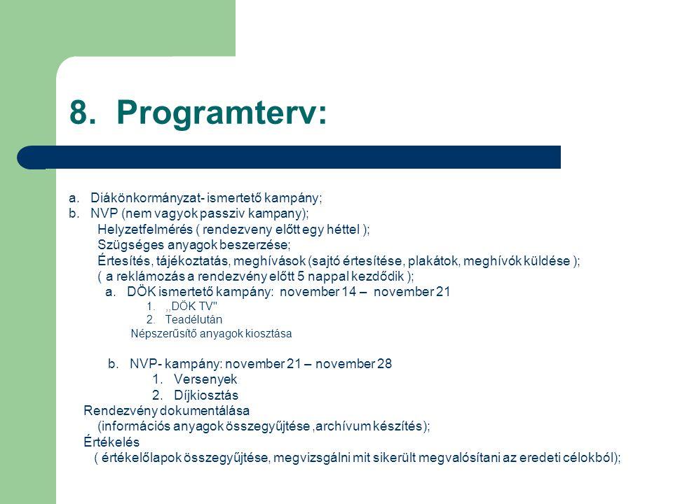 8. Programterv: a. Diákönkormányzat- ismertető kampány; b.