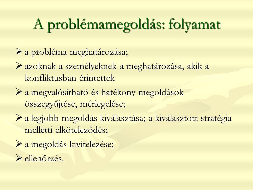 A problémamegoldás: folyamat  a probléma meghatározása;  azoknak a személyeknek a meghatározása, akik a konfliktusban érintettek  a megvalósítható