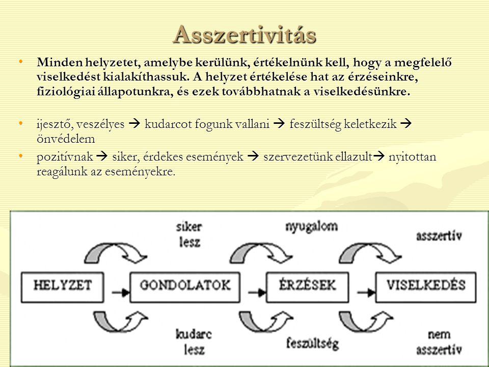 Asszertivitás Minden helyzetet, amelybe kerülünk, értékelnünk kell, hogy a megfelelő viselkedést kialakíthassuk. A helyzet értékelése hat az érzéseink