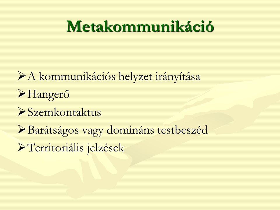 Metakommunikáció  A kommunikációs helyzet irányítása  Hangerő  Szemkontaktus  Barátságos vagy domináns testbeszéd  Territoriális jelzések