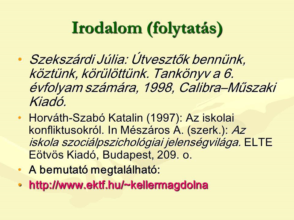 Irodalom (folytatás) Szekszárdi Júlia: Útvesztők bennünk, köztünk, körülöttünk. Tankönyv a 6. évfolyam számára, 1998, Calibra–Műszaki Kiadó.Szekszárdi