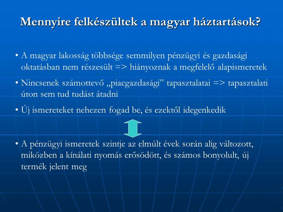 """A magyar lakosság többsége semmilyen pénzügyi és gazdasági oktatásban nem részesült => hiányoznak a megfelelő alapismeretek Nincsenek számottevő """"piacgazdasági tapasztalatai => tapasztalati úton sem tud tudást átadni Új ismereteket nehezen fogad be, és ezektől idegenkedik A pénzügyi ismeretek szintje az elmúlt évek során alig változott, miközben a kínálati nyomás erősödött, és számos bonyolult, új termék jelent meg Mennyire felkészültek a magyar háztartások"""