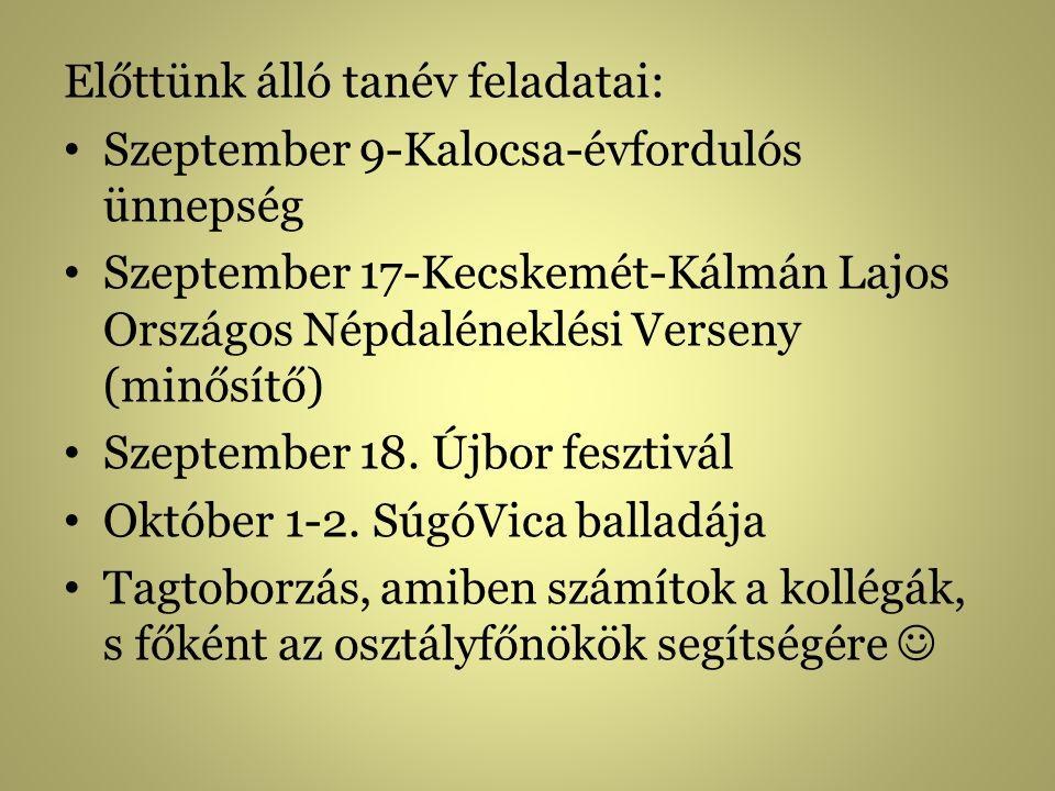 Előttünk álló tanév feladatai: Szeptember 9-Kalocsa-évfordulós ünnepség Szeptember 17-Kecskemét-Kálmán Lajos Országos Népdaléneklési Verseny (minősítő) Szeptember 18.